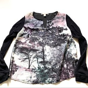 Forever 21 printed long sleeve shirt trees XS